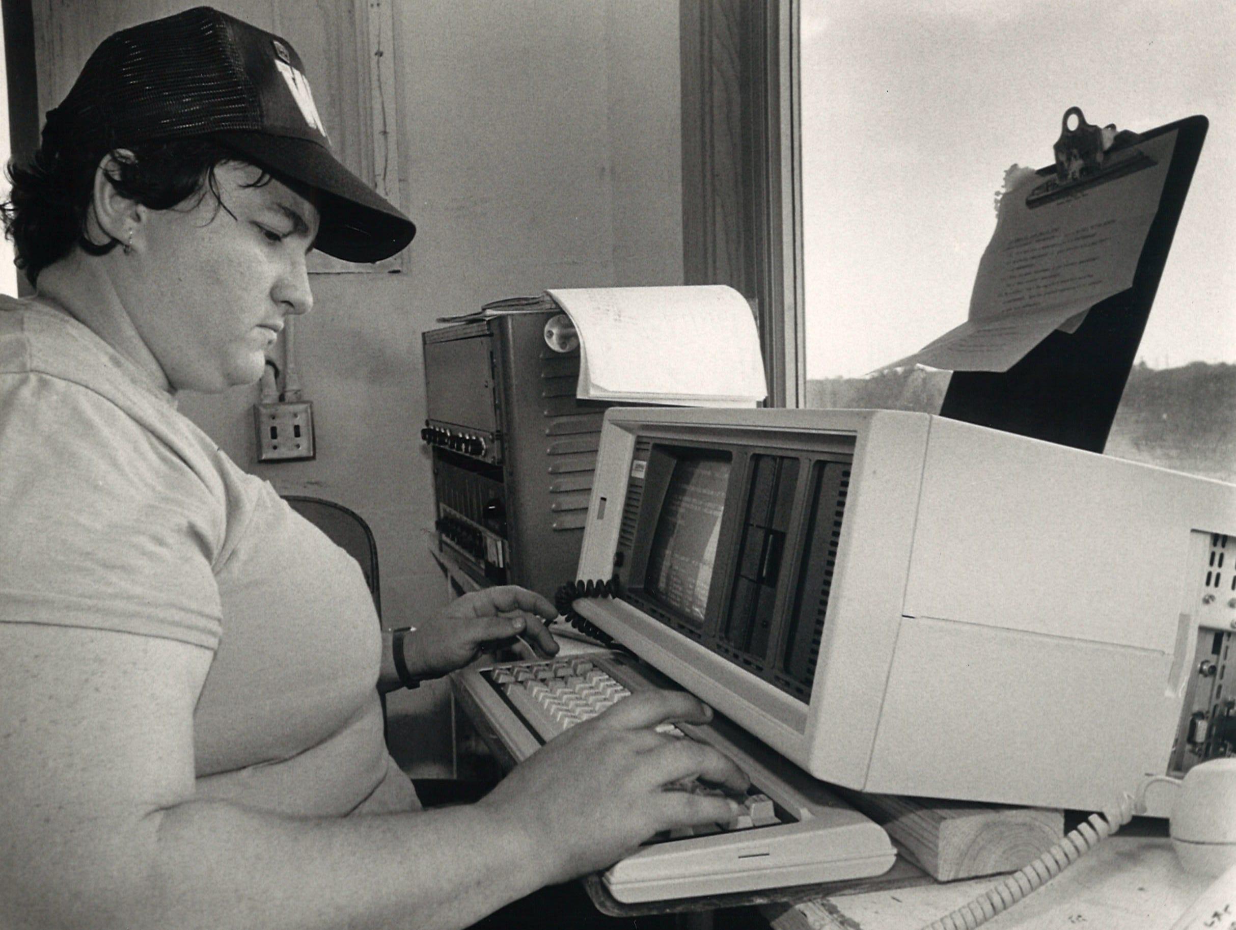 Debbie Patterson was one of Buc Stadium's scoreboard operators in September 1984.