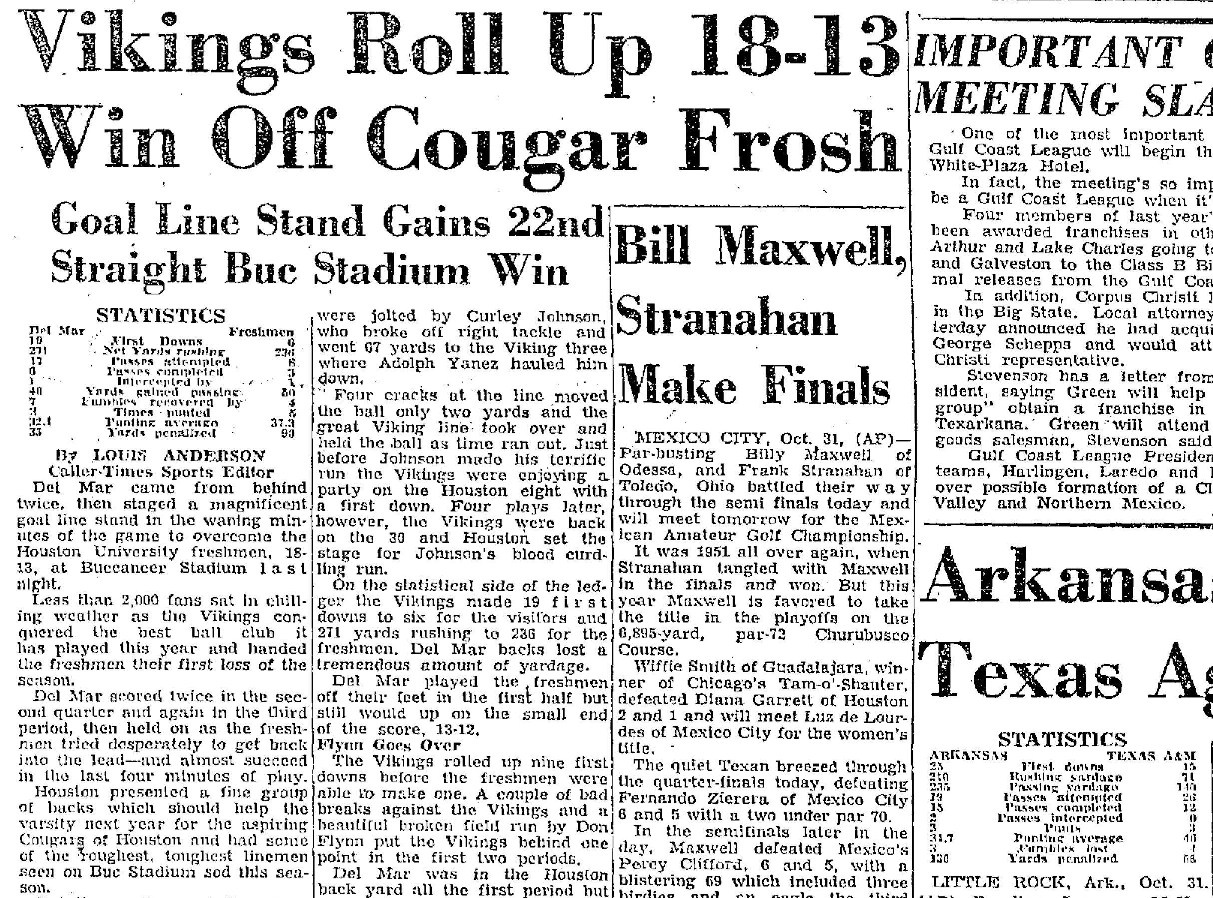The Del Mar College Vikings played frequently at Buc Stadium, as seen in this Nov. 1, 1953 clipping from the Caller-Times.