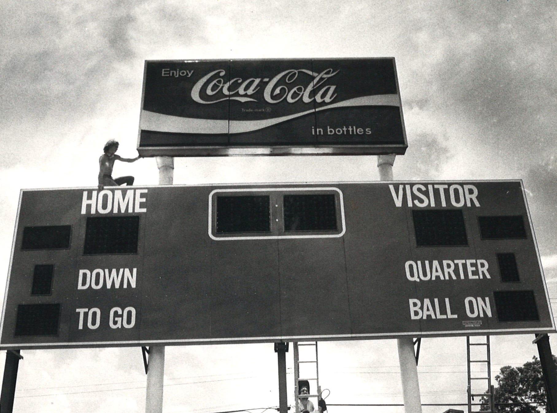 The new scoreboard at Buc Stadium was installed in August 1983.