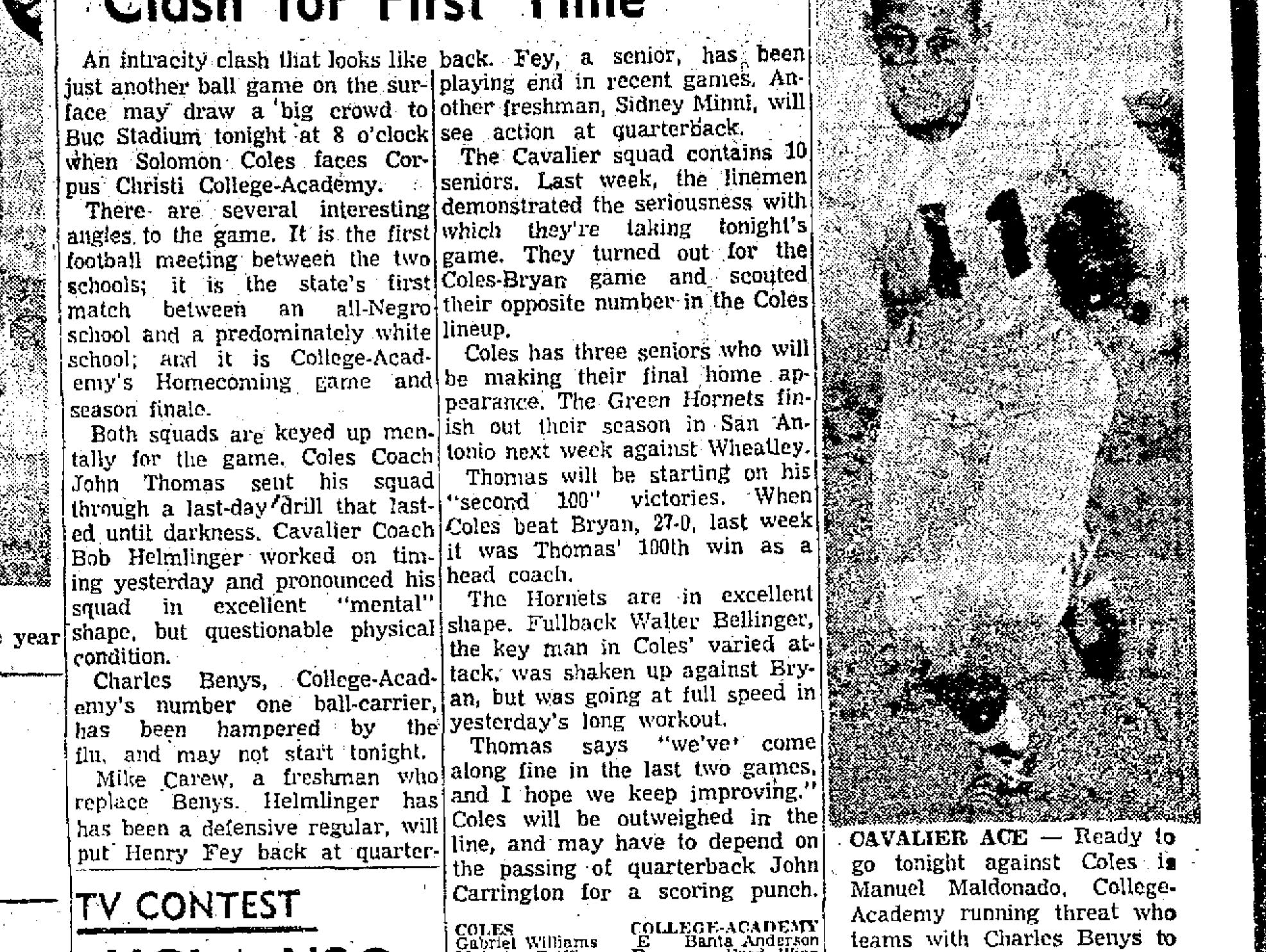 Headlines trumpeted the face off between Solomon Coles High School and Corpus Christi College Academy at Buccaneer Stadium on Nov. 16, 1955, one of the first integrated games in Texas history.