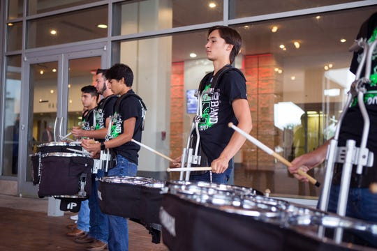 Members of the King High School Drum Line perform as people enter the American Bank Center to attend the annual State of the District on Wednesday, October 24, 2018. The annual event provides an update on happenings with the Corpus Christi Independent School District and is the largest annual fundraising event benefitting the district.