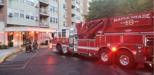 The Maple Shade Fire Department and neighboring companies respond to a balcony fire at the The Artbors Apartments.