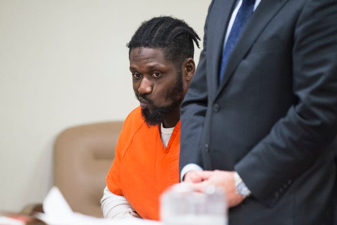Ammar Hall appears in court for a detention hearing Wednesday, Oct. 24, 2018 at the Camden County Hall of Justice in Camden, N.J. Hall, who is charged in the shooting of two Camden detectives in August, will remain detained until trial.