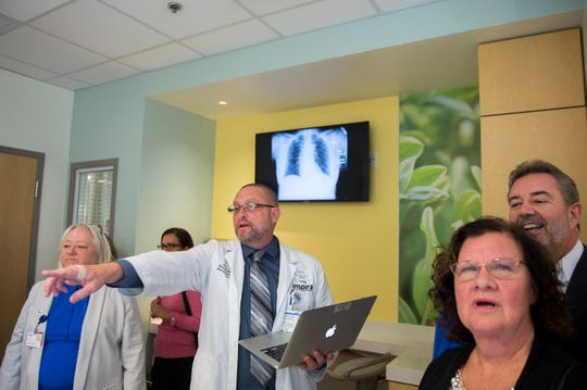 Chief Technician Allen Ecker demonstrates the features of a patient simulator inside Inspira's Innovation Center at the South Jersey Technology Park in Harrison Township.
