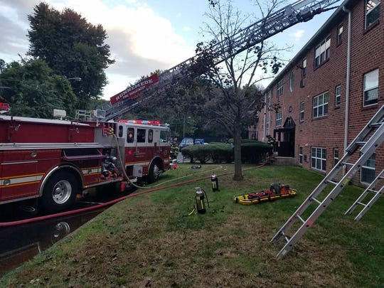 Firefighters responded to the Union Grove apartments in Barrington on Tuesday.