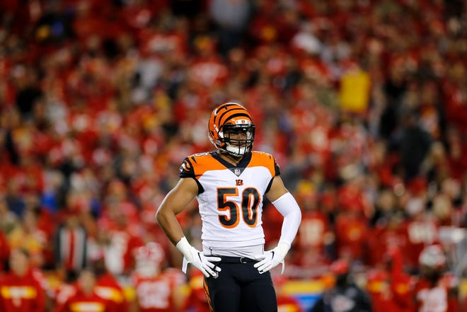 Cincinnati Bengals linebacker Jordan Evans (50) stands by between plays in the first quarter of the NFL Week 7 game between the Kansas City Chiefs and the Cincinnati Bengals at Arrowhead Stadium in Kansas City, Mo., on Tuesday, Oct. 16, 2018.