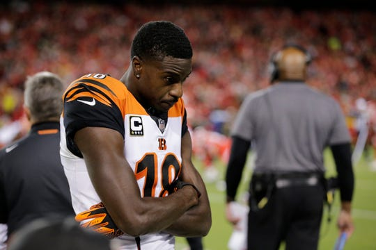 Cincinnati Bengals wide receiver A.J. Green (18) walks the sideline near the end of the third quarter of the NFL Week 7 game between the Kansas City Chiefs and the Cincinnati Bengals at Arrowhead Stadium in Kansas City, Mo., on Tuesday, Oct. 16, 2018. The Bengals lost 45-10, falling to 4-3 on the season.