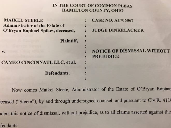 A notice of dismissal was filed Oct. 5, 2018 in Hamilton County Common Pleas Court in a lawsuit filed by the estate of a man killed in the Cameo nightclub mass shooting.