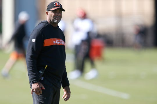 Teryl Austin during Bengals practice Oct. 24 on the practice fields next to Paul Brown Stadium in Cincinnati.