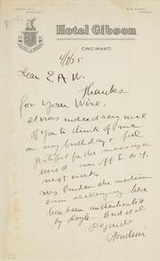 A letter written by Harry Houdini on stationery from the Hotel Gibson in Cincinnati on April 7, 1925, discusses challenging  Laura Pruden, a medium from Price Hill who had been authenticated by Sir Arthur Conan Doyle.