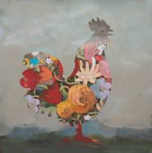 "Jill Kerwick, ""Inner Chicken,"" (2018) oil on paper, 17"" x 17"""