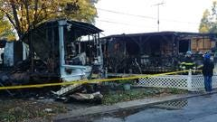 Fire destroyed two mobile homes in South Brunswick early Wednesday morning.