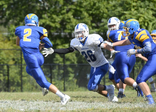 Middlesex's Jose Andujar moves in for a tackle during a game against Spotswood earlier this season.