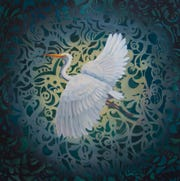"Jill Kerwick, ""Sociable & Elegant,"" (2006) oil painting, 12"" x 12"""
