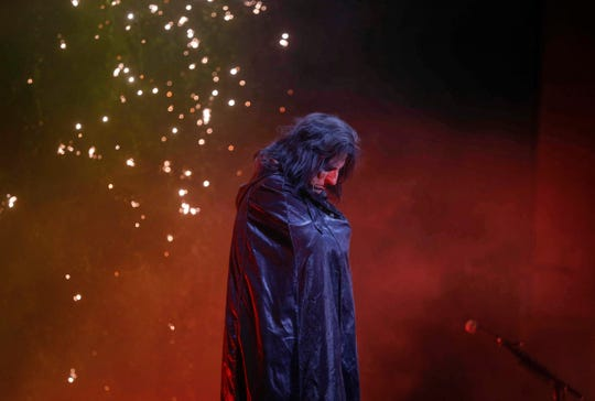Rock and roll legend Alice Cooper takes the stage during his performance on Tuesday, Oct. 23, 2018, at the Civic Center in Des Moines.