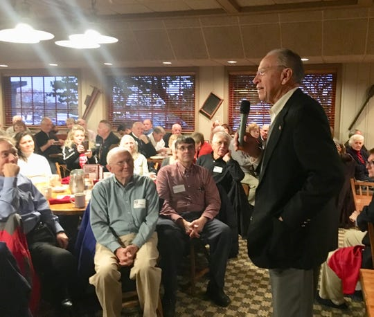 U.S. Sen. Chuck Grassley, R-Iowa, speaks Wednesday, Oct. 23, 2018, to the Westside Conservative Club at the Machine Shed restaurant in Urbandale, Iowa