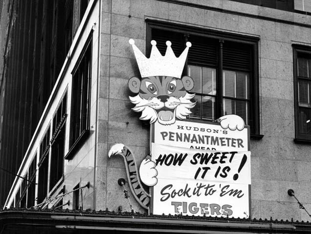 A sign on Hudson's in Detroit hangs in support of the Detroit Tigers during the 1968 World Series.