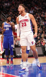Blake Griffin reacts after scoring against the 76ers, Oct. 23 at Little Caesars Arena.