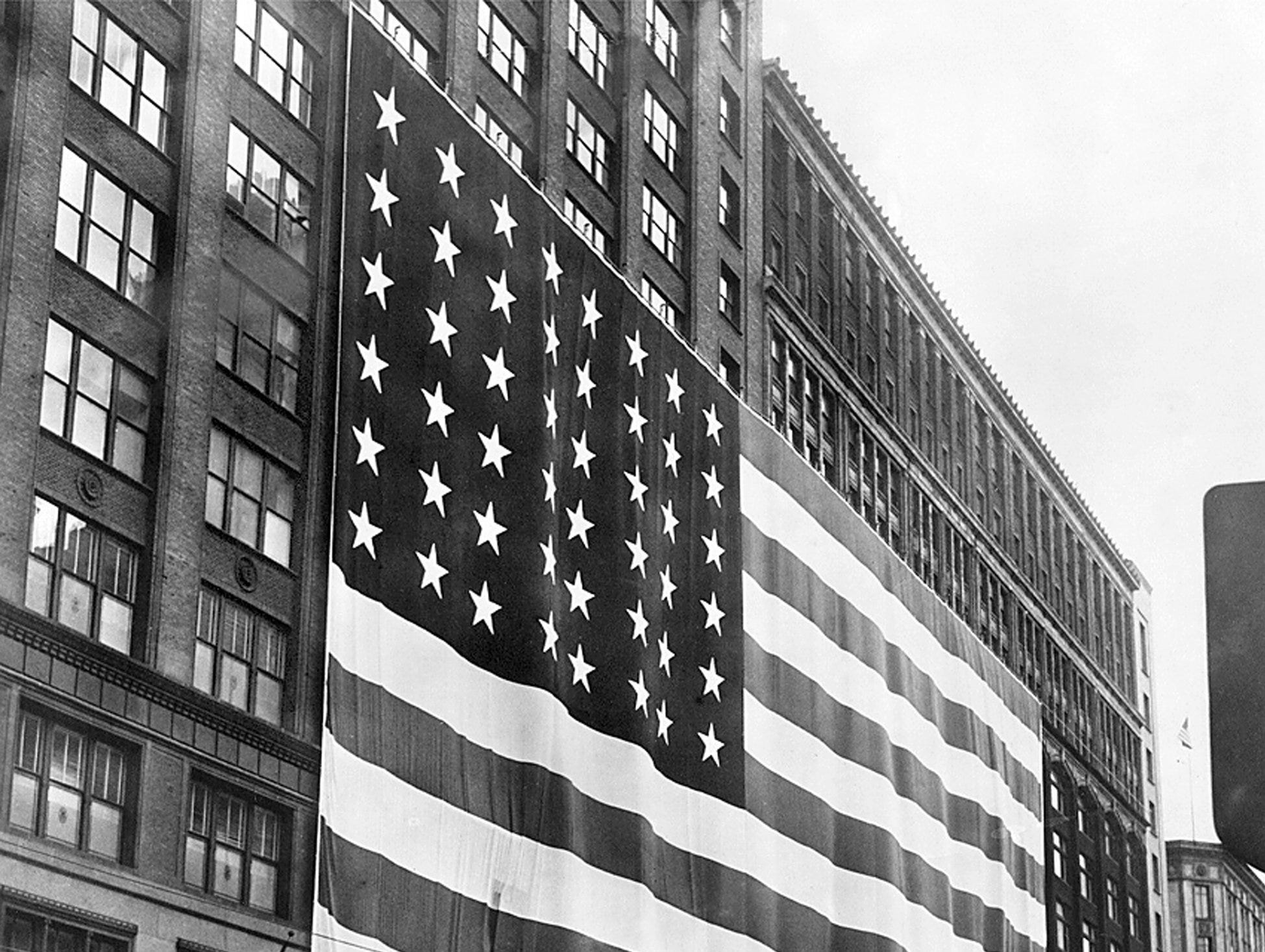 The Hudson flag-the worlds largest-on its downtown Detroit Woodward Avenue store on flag day in 1950.