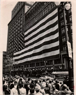 Hudson's flag returning - The biggest US flag is coming back home to Detroit after spending 5 years displayed at the Smithsonian Institute. It was lent to the Detroit Historical Museum of the J. L. Hudson Centennial Exhibition.