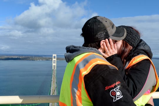 Emily Misner and Cord Wilson shortly after their proposal atop Mackinac Bridge on Wednesday, Oct. 24.
