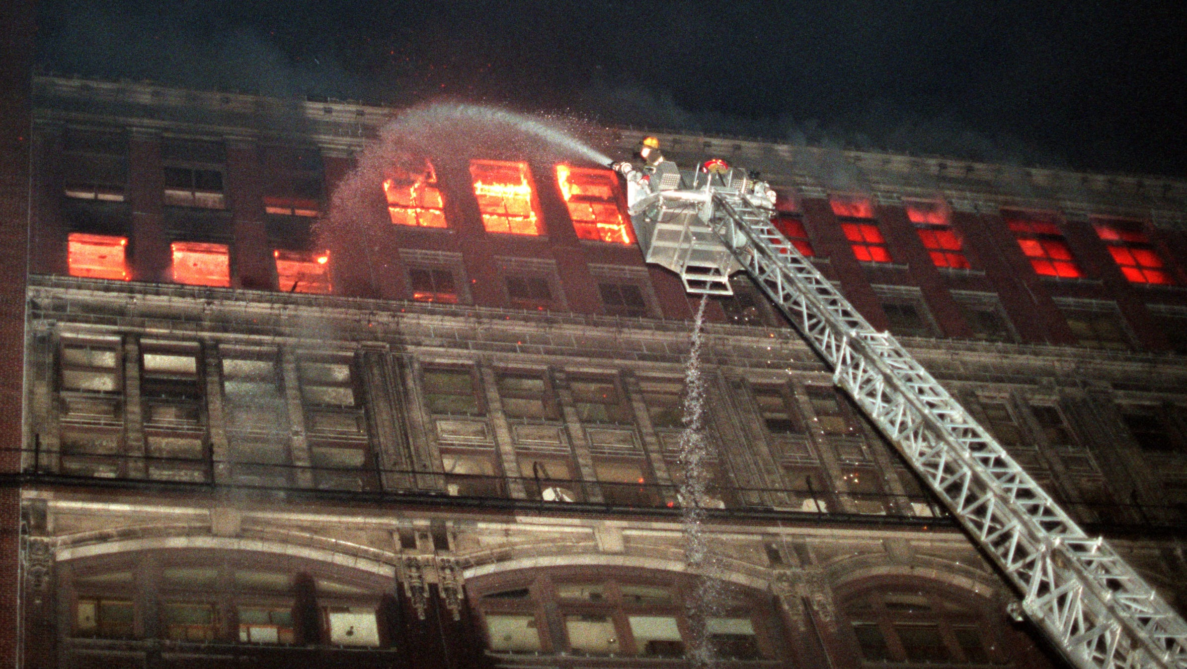 Early Friday morning around 1:15 a.m. Detroit Fire Department responded to a second alarm fire at the old Hudson's building on Woodward Ave.