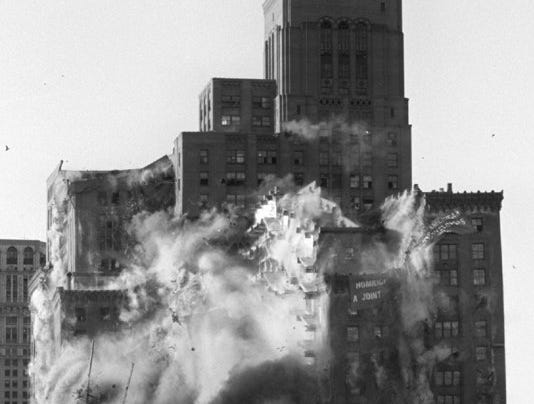 The historic Hudson's building is imploded along Woodward Avenue in downtown Detroit Saturday evening, Oct. 24. 1998.