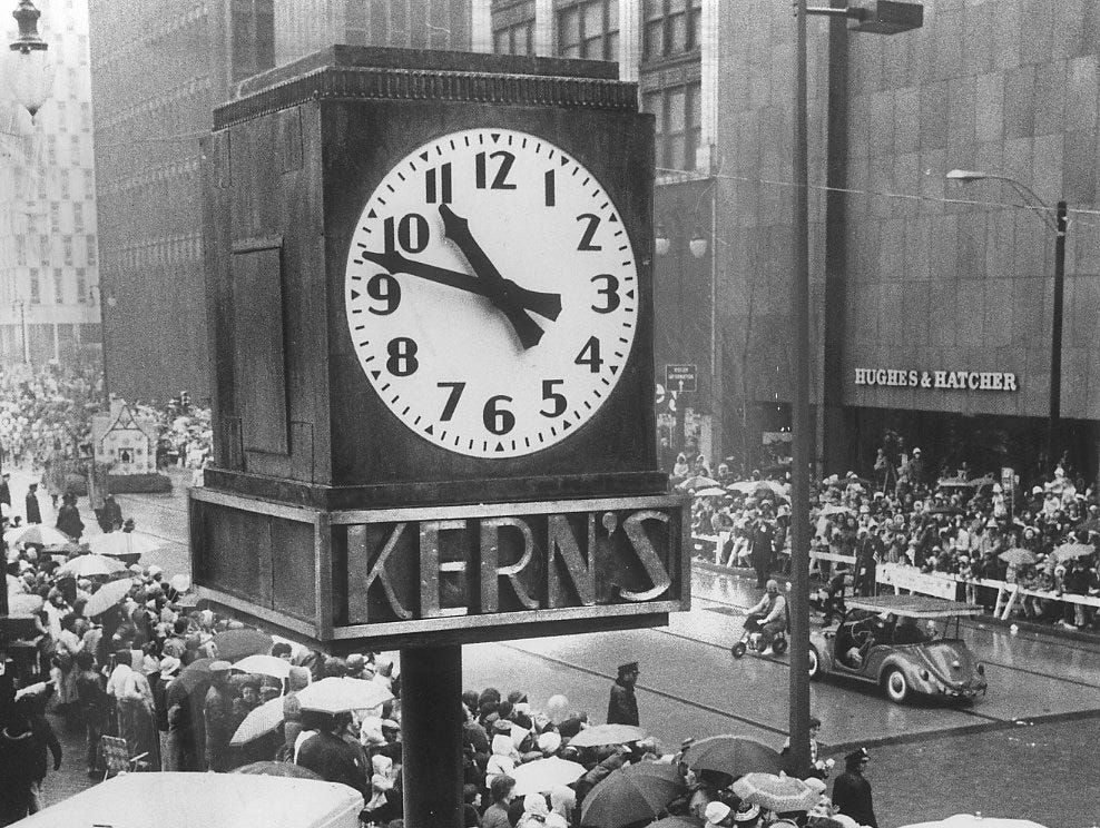 The Kern Clock marked the Ernst Kern department store at Woodward and Gratiot from 1933 until the building was demolished in 1966.  It was in storage until 1979  when it was placed on the southwest corner of  the downtown Hudson's store near its old location. will be a focal point of the new Woodward Mall in downtown Detroit.