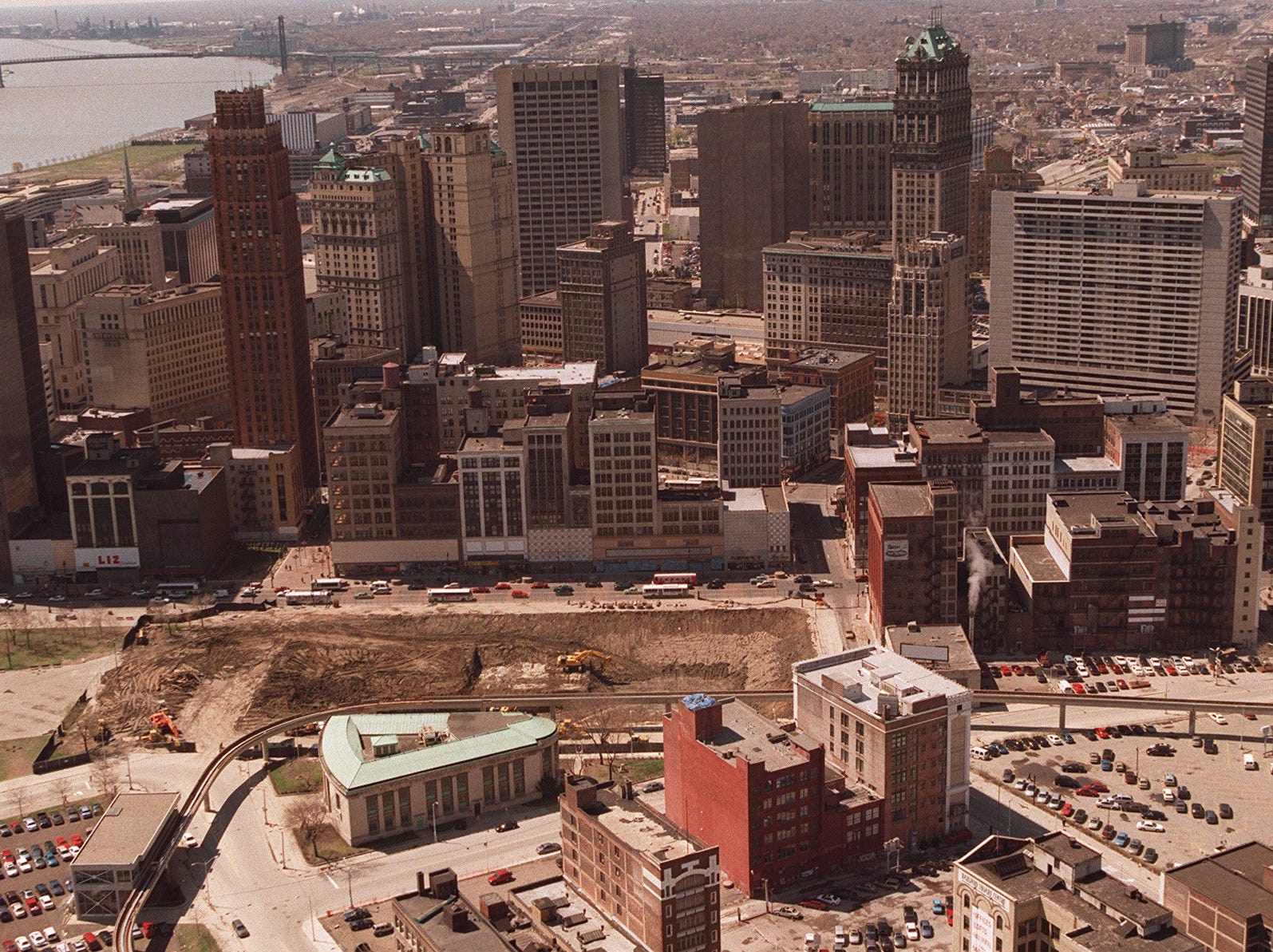 This is an aerial of downtown Detroit.  At the bottom left in the hole is where the old Hudson's building use to be and where part of Compuware will go.  Woodward runs from left to right.