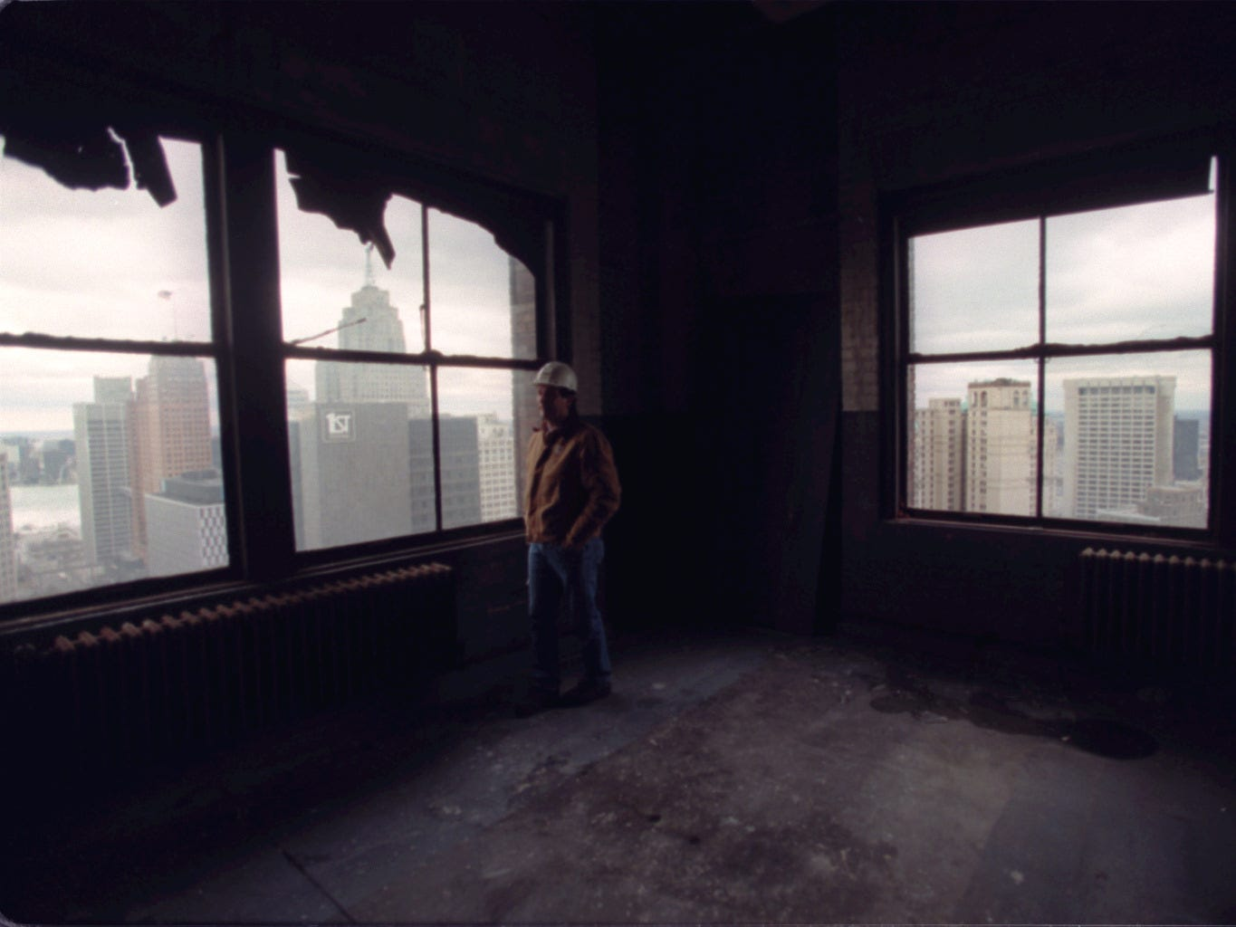 Exploring the Hudson's Building in downtown Detroit in 1997.