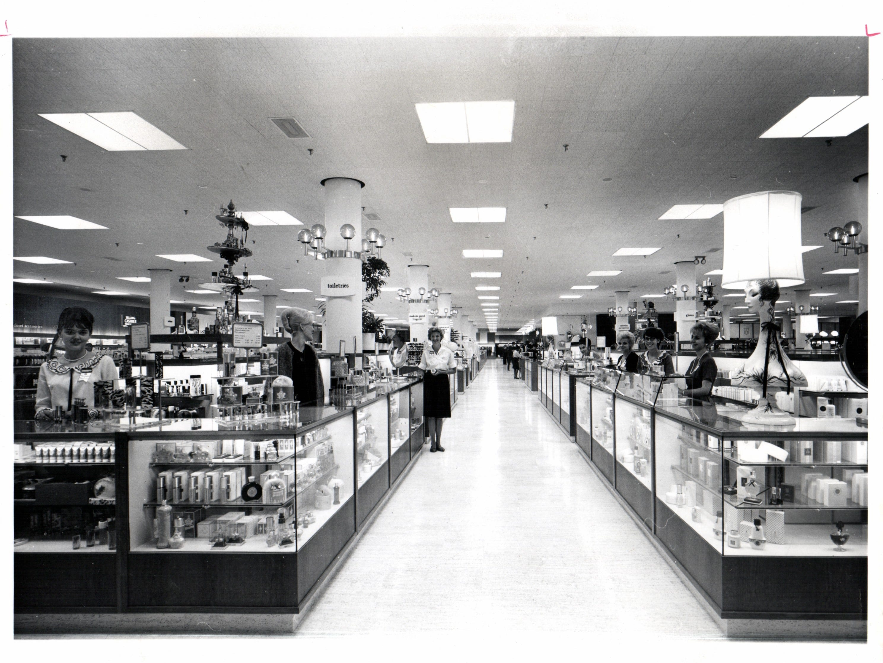 J.L. Hudson's three-floor main store in the center includes this cosmetics department.