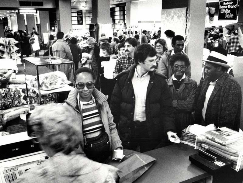 Nostalgic buyers during the final days of Hudson's department store in downtown Detroit.