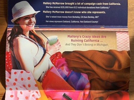 This mailer, sent to voters in the 13th State Senate District during the 2018 midterms, depicts Democratic candidate Mallory McMorrow with a pile of silky fabrics and, inexplicably, a curling iron.