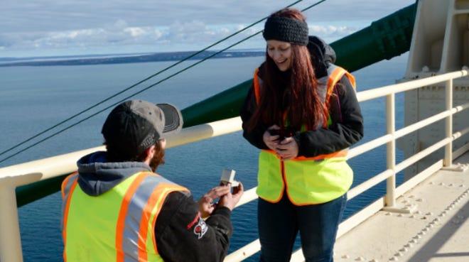 A couple got engaged Wednesday, Oct. 24, atop Mackinac Bridge.
