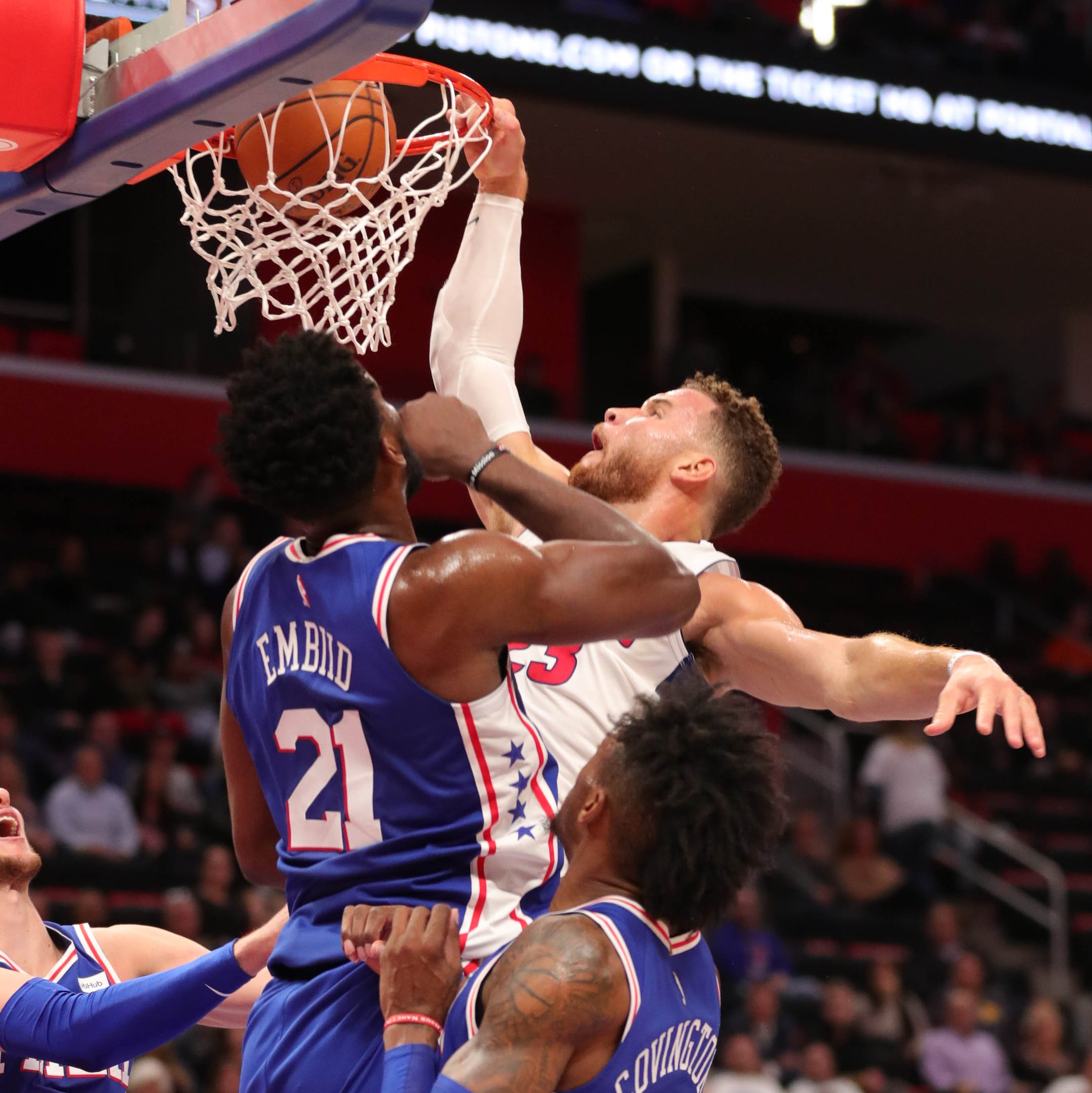 Detroit Pistons' Blake Griffin has ridiculous dunk on Joel Embiid