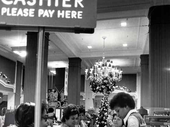 Christmas shopping at Hudson's in downtown Detroit in 1976.