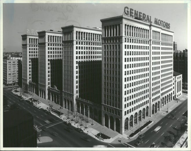 The former General Motors headquarters, now known as Cadillac Place, in Detroit's New Center district.