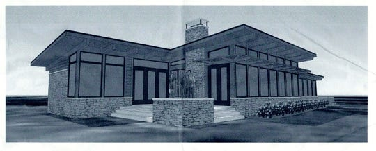 This rendering shows the Dennis Williams cottage being built by the UAW on the shores of Black Lake.