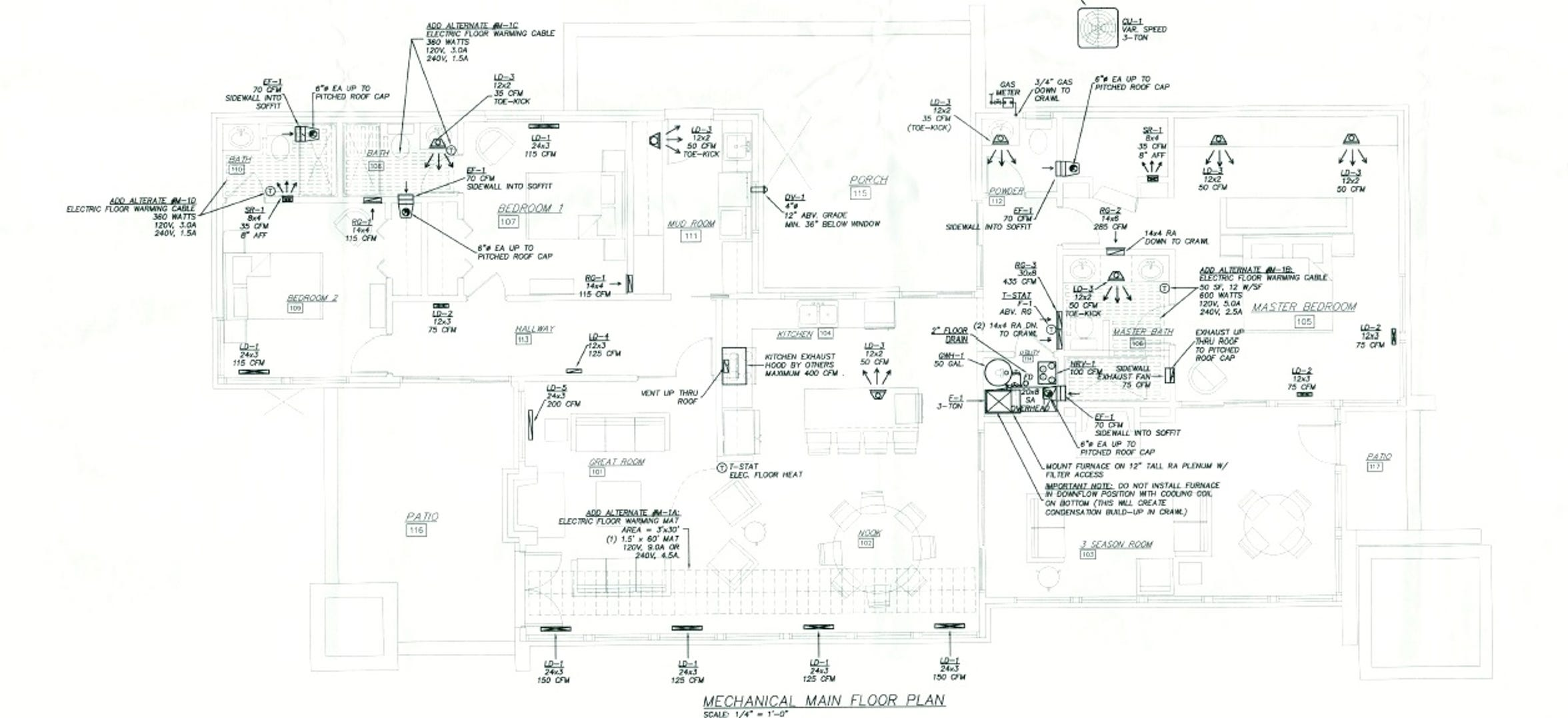 The floor plan for the cottage being built for former UAW President Dennis Williams includes three rooms and three-and-a-half baths.
