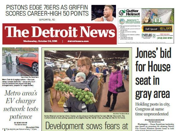 Front page of The Detroit News on Wednesday, October 24, 2018.