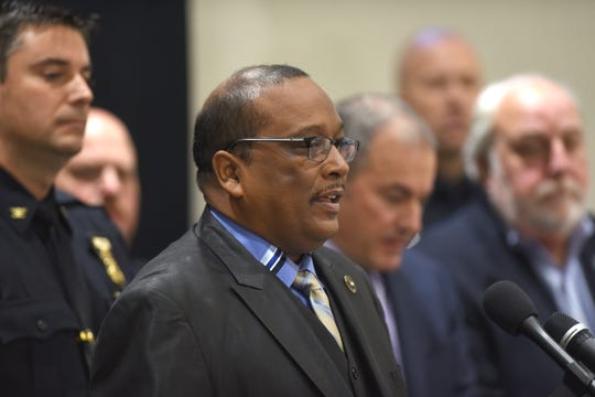 Rev. John Hearn Jr. speaks as the Westland Police Department announced that all patrol officers will wear a body camera during a news conference on Wednesday in Westland on October, 24, 2018. 