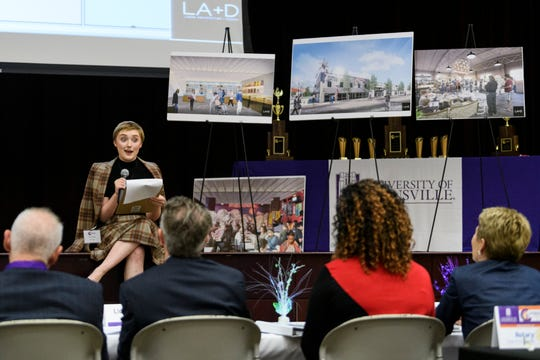 North High School student Lilly Pease, top, presents the Flower Man Company to the judges with her teammates Sydney Judd and Chloe Cooper, both not pictured, during the fourth annual High School Changemaker Challenge at the Ridgeway University Center on the campus of the University of Evansville in Evansville, Ind., Wednesday, Oct. 24, 2018. The plan proposes purchasing a factory building in Downtown Evansville to build space for local artists and employ underutilized workforces.
