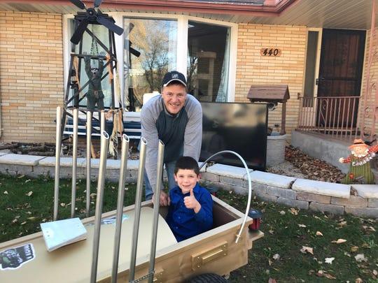 "Chris Cardenas and his stepson, Cameron Panzer, built a replica of the ""DRAG-U-LA"" from the 1960s' sitcom ""The Munsters."""
