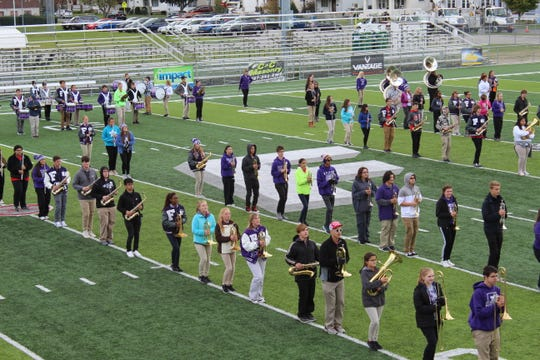 Fremont Ross High School's marching band performed Wednesday for Stamm Elementary School students at Don Paul Stadium.