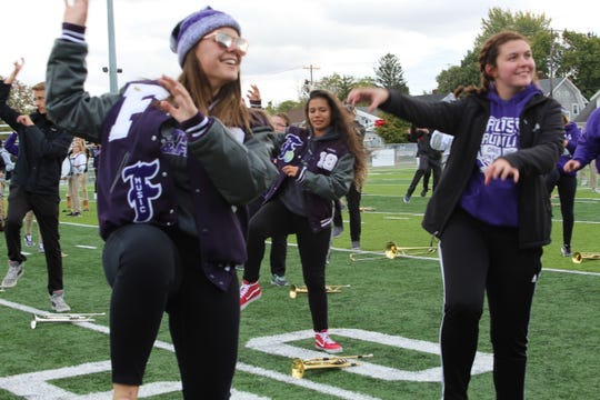 "Members of the Fremont Ross Marching Little Giants performed Michael Jackson's ""Thriller"" dance for Stamm Elementary School students Wednesday at Don Paul Stadium."