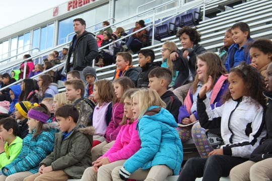 "Stamm Elementary School students watched as the Fremont Ross Marching Little Giants performed ""Thriller"" Wednesday at Don Paul Stadium."