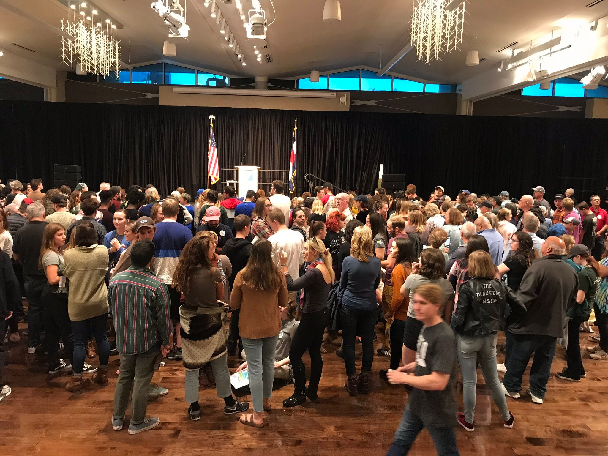 The Lory Student Center Ballroom begins to fill up Wednesday, 45 minutes prior to the start of a rally featuring U.S. Sen. Bernie Sanders, governor candidate Rep. Jared Polis, congressional candidate Joe Neguse and Sen. Michael Bennet.