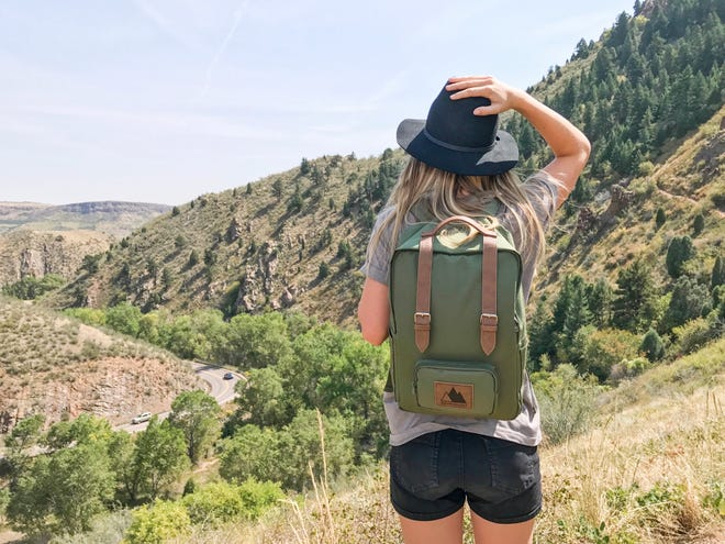 Matilda Sandstrom, co-founder of Adventurist Backpack hiking through Colorado.