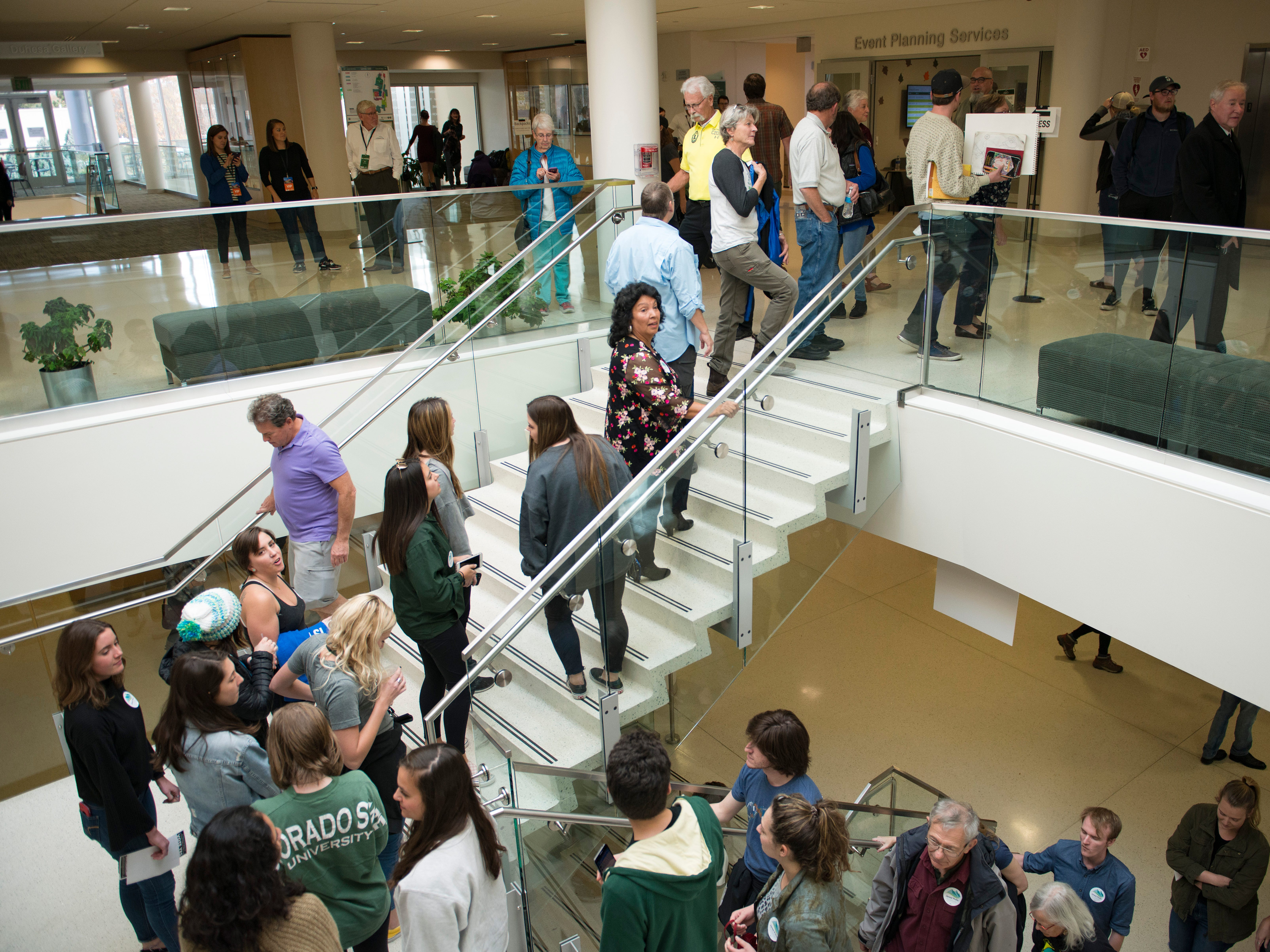 A line of hundreds is formed before a Colorado Democrats rally featuring Democratic candidate for Colorado Governor Jared Polis, U.S. Sen. Bernie Sanders, U.S. Sen. Michael Bennett and congressional candidate Joe Neguse at the Lory Student Center at CSU on Wednesday, October 24, 2018.