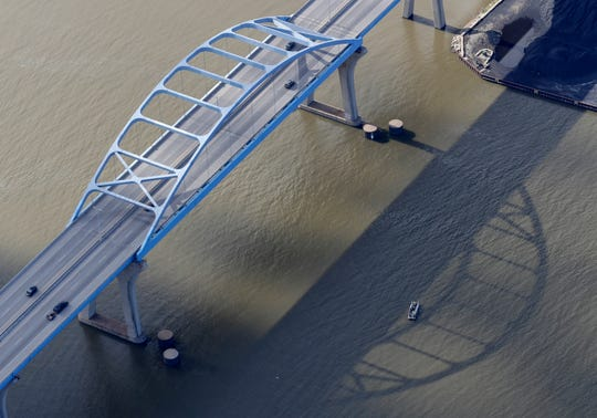 The Leo Frigo Memorial Bridge carries Interstate 43 traffic over the Fox River on the north side of Green Bay, Wis.